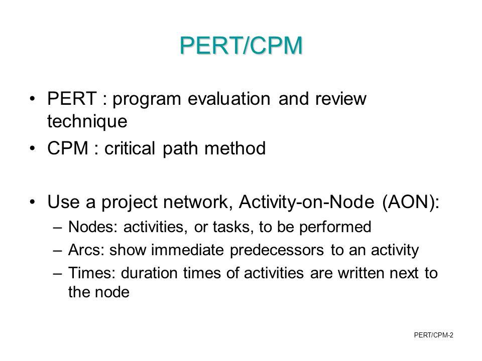 PERT/CPM PERT : program evaluation and review technique