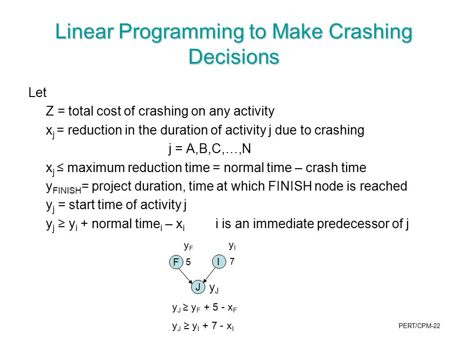 Linear Programming to Make Crashing Decisions