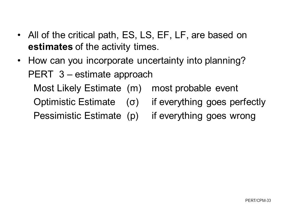 All of the critical path, ES, LS, EF, LF, are based on estimates of the activity times.