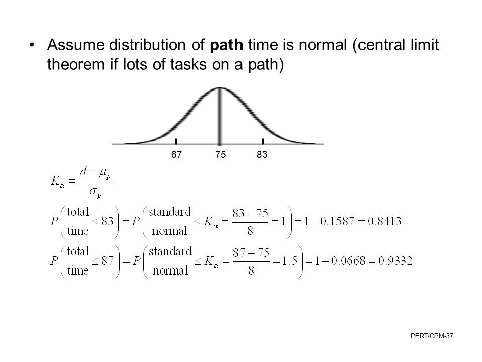 Assume distribution of path time is normal (central limit theorem if lots of tasks on a path)