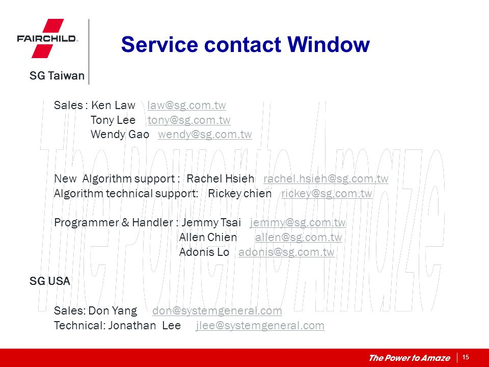 Service contact Window