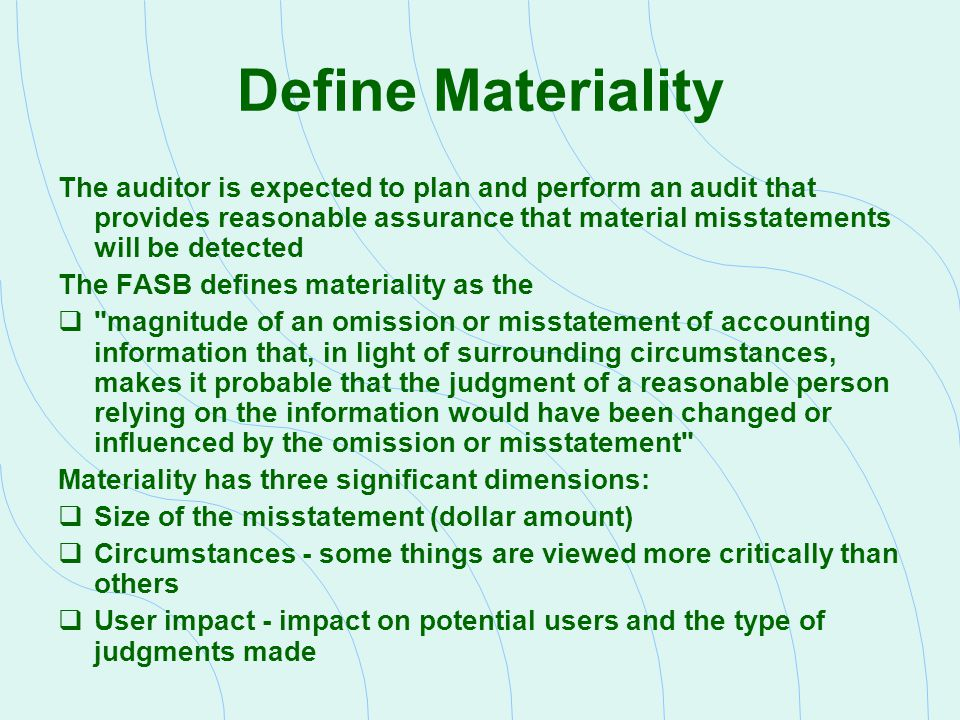 Define Materiality
