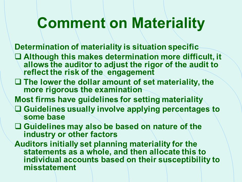 Comment on Materiality