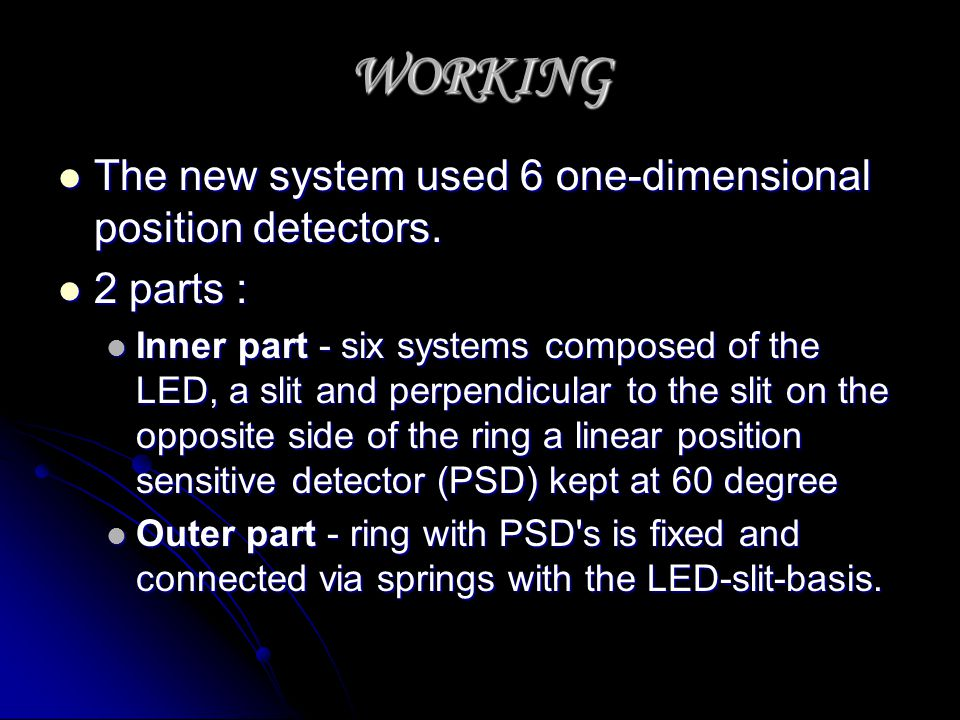 WORKING The new system used 6 one-dimensional position detectors.