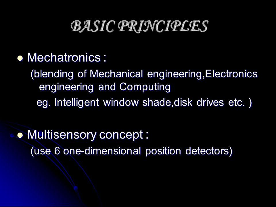 BASIC PRINCIPLES Mechatronics : Multisensory concept :