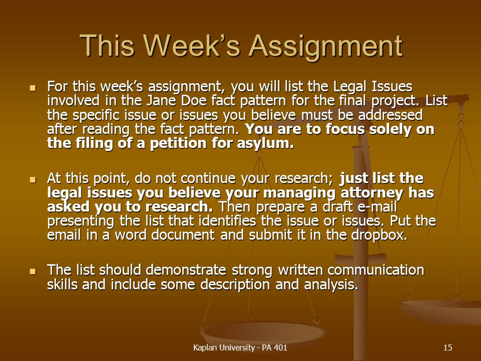 This Week's Assignment