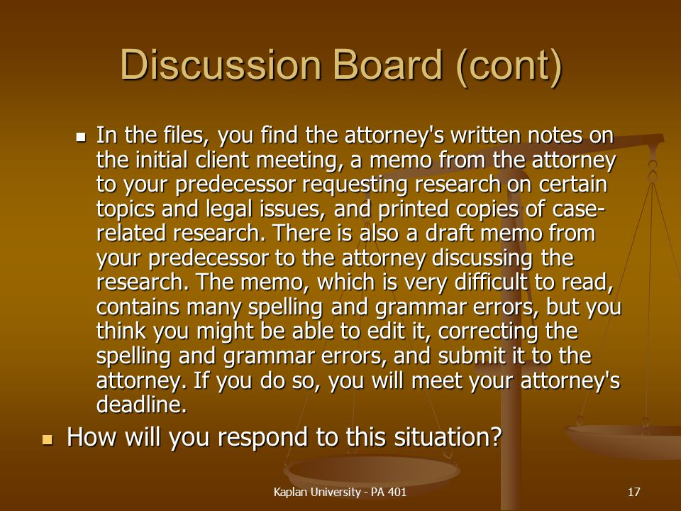 Discussion Board (cont)