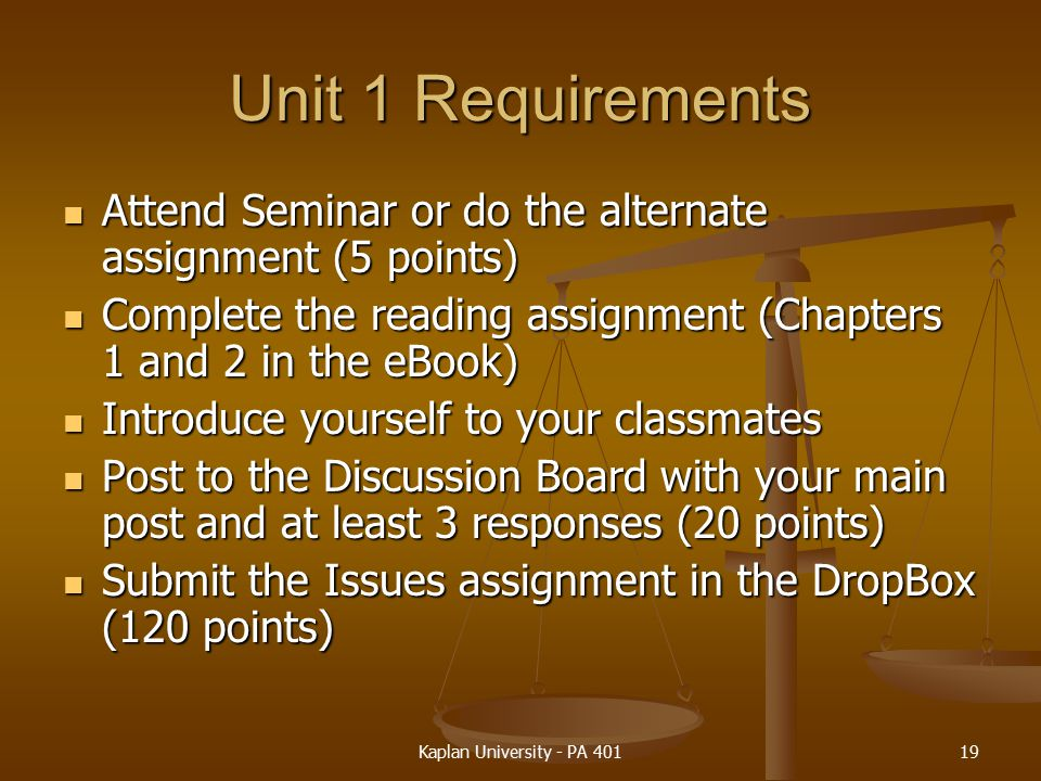 Unit 1 Requirements Attend Seminar or do the alternate assignment (5 points) Complete the reading assignment (Chapters 1 and 2 in the eBook)