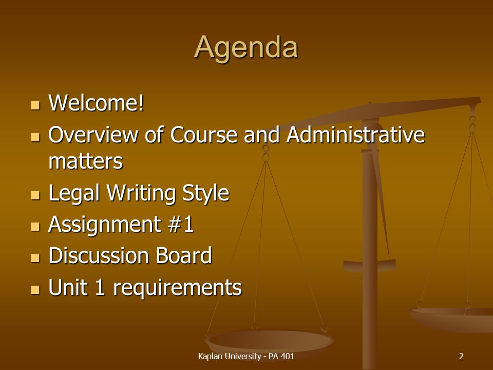 Agenda Welcome! Overview of Course and Administrative matters