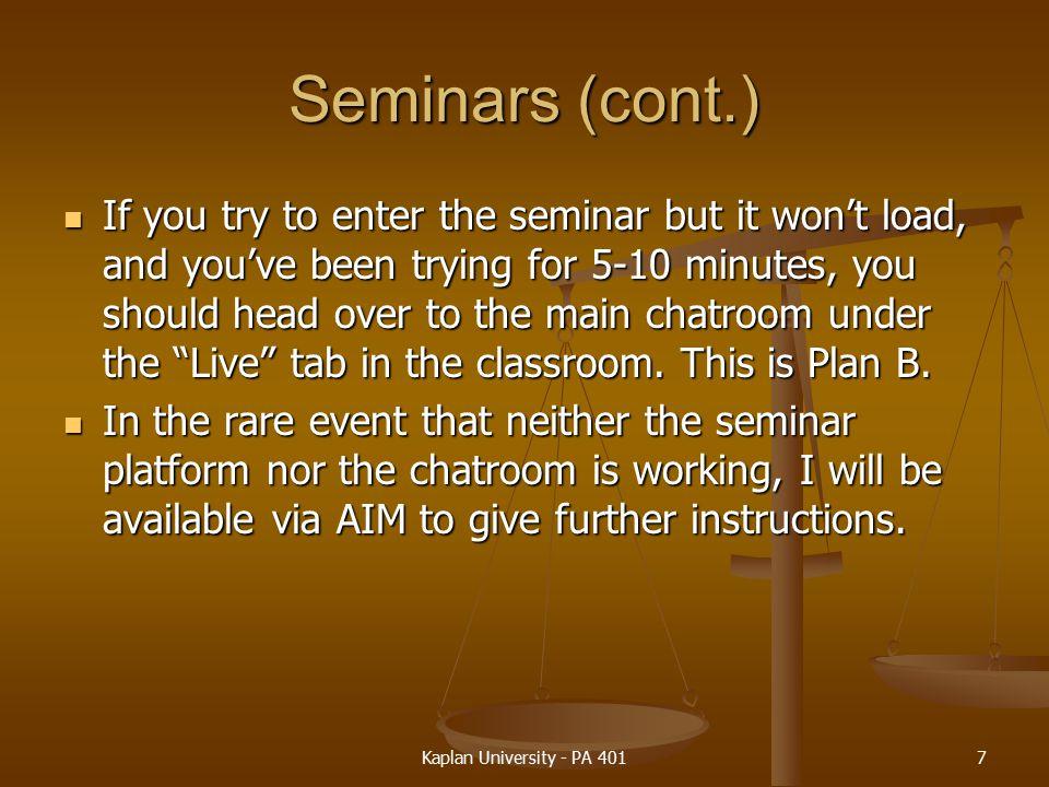 Seminars (cont.)