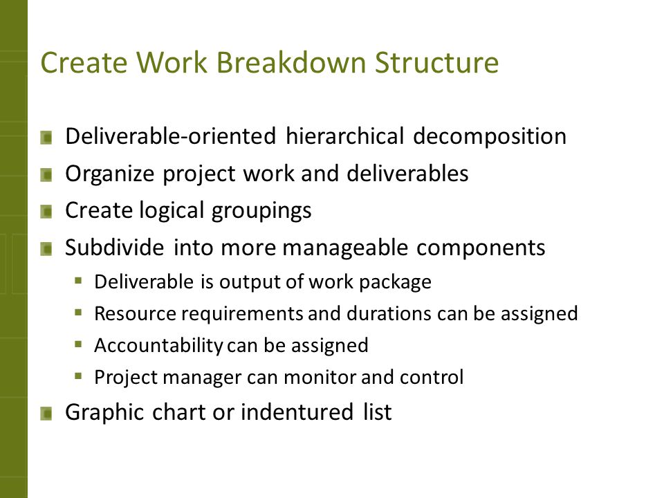 Create Work Breakdown Structure