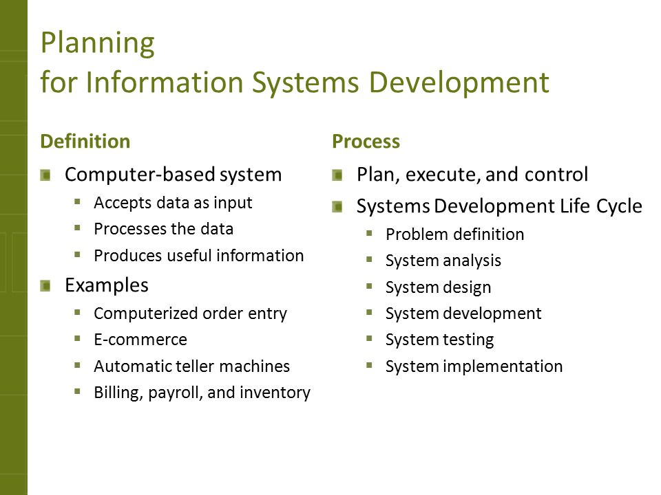 Planning for Information Systems Development