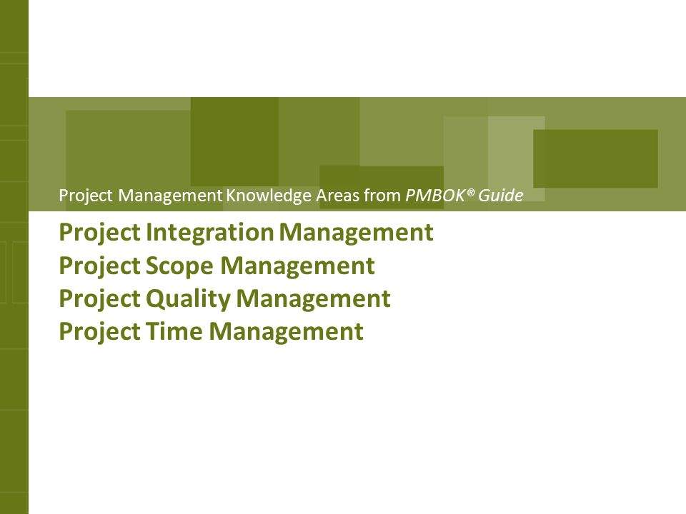 Project Management Knowledge Areas from PMBOK® Guide