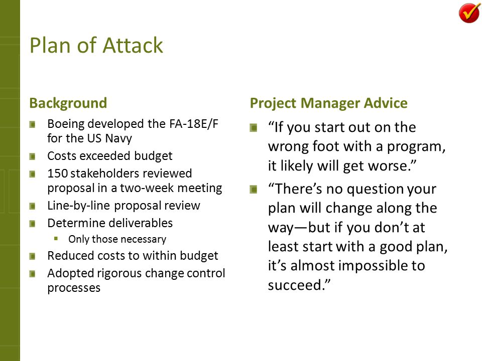 Plan of Attack Background Project Manager Advice