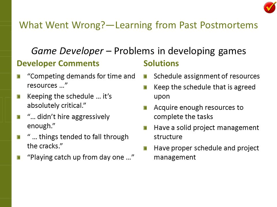 What Went Wrong —Learning from Past Postmortems Game Developer – Problems in developing games