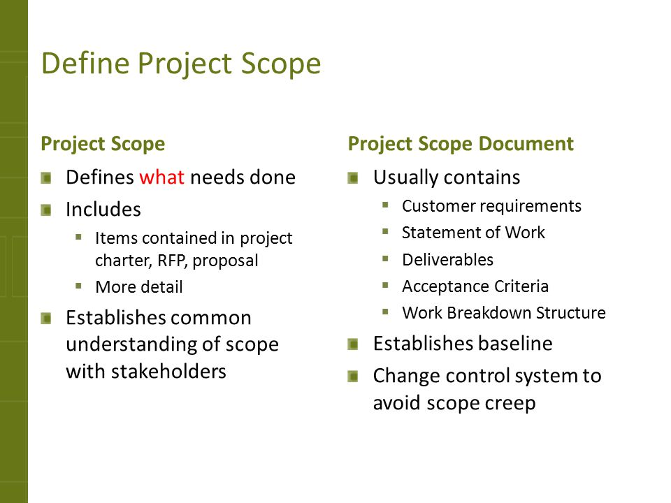 Define Project Scope Project Scope Project Scope Document