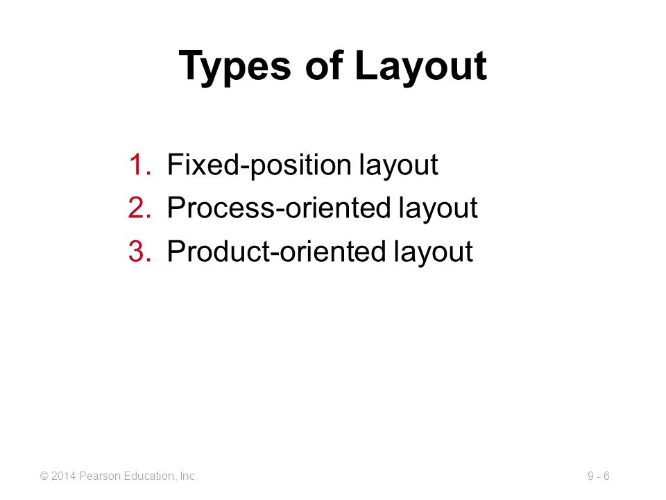 Types of Layout Fixed-position layout Process-oriented layout
