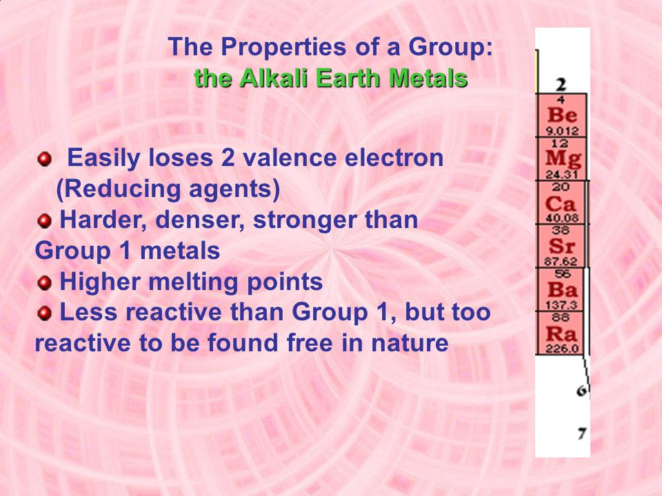 The Properties of a Group: the Alkali Earth Metals