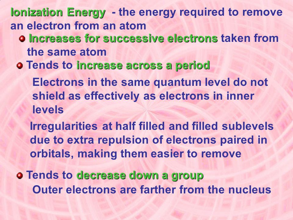 Ionization Energy - the energy required to remove an electron from an atom