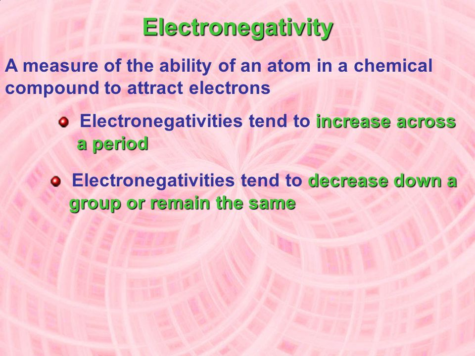 Electronegativity A measure of the ability of an atom in a chemical