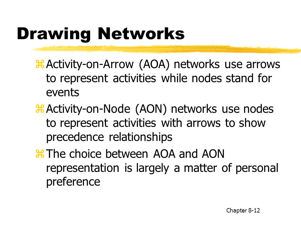 Drawing Networks Activity-on-Arrow (AOA) networks use arrows to represent activities while nodes stand for events.