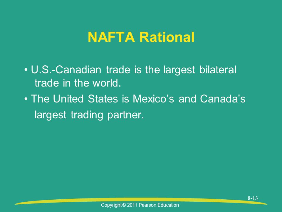 NAFTA Rational • U.S.-Canadian trade is the largest bilateral trade in the world. • The United States is Mexico's and Canada's.
