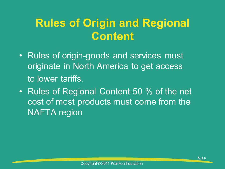Rules of Origin and Regional Content