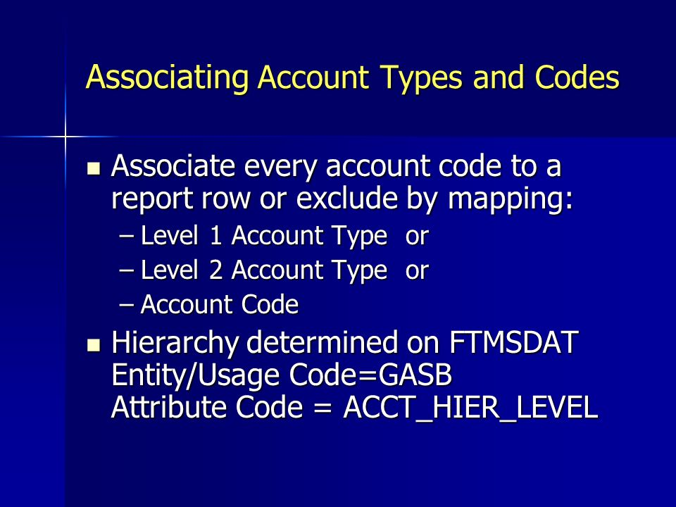 Associating Account Types and Codes