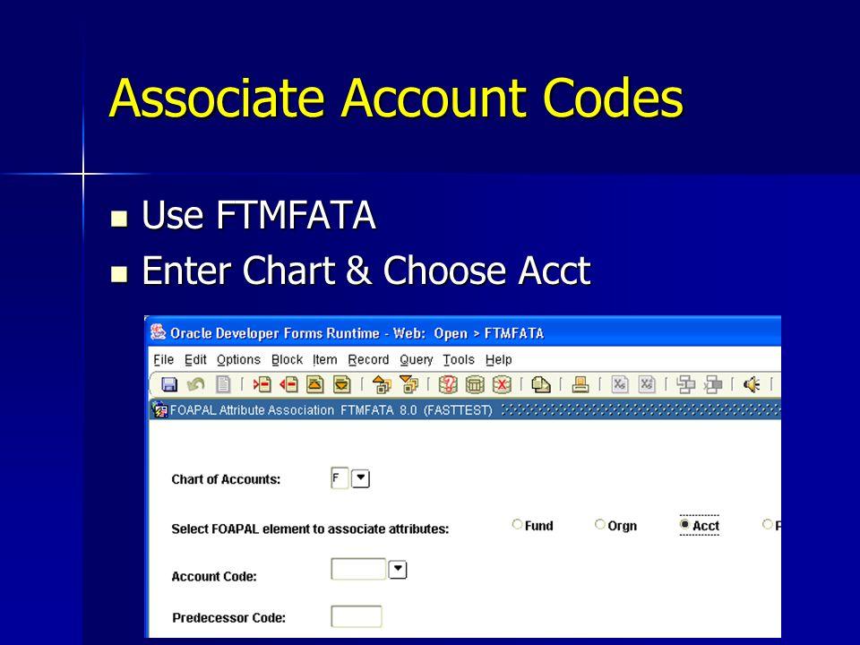 Associate Account Codes