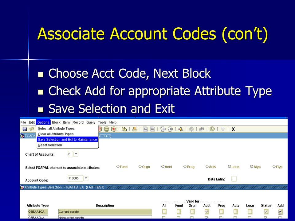 Associate Account Codes (con't)