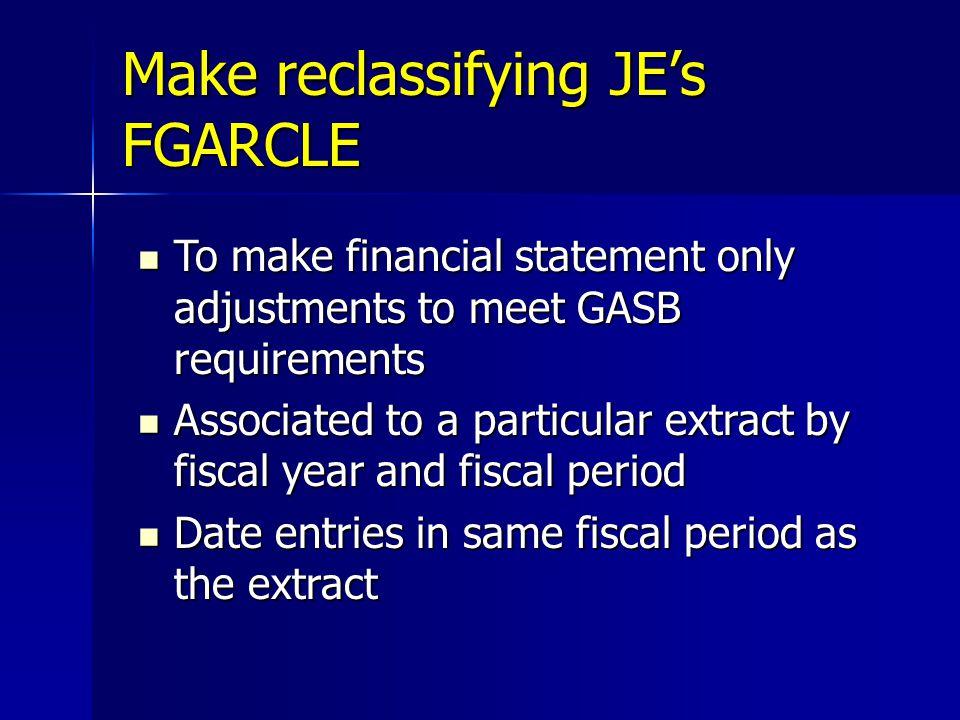 Make reclassifying JE's FGARCLE