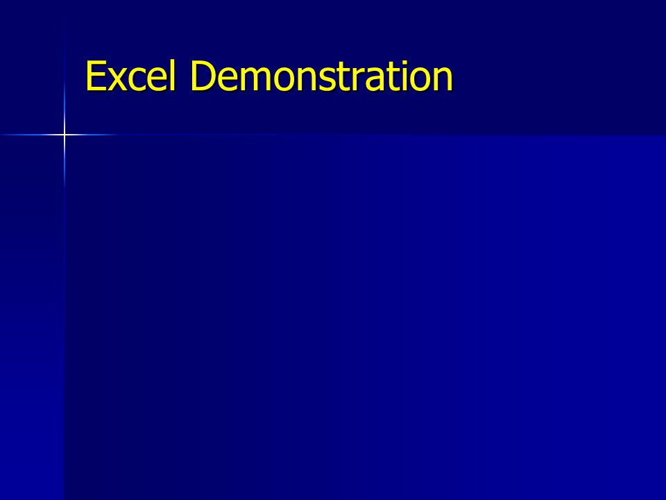 Excel Demonstration Switch over to Excel to demonstrate bringing the extracts into Excel.