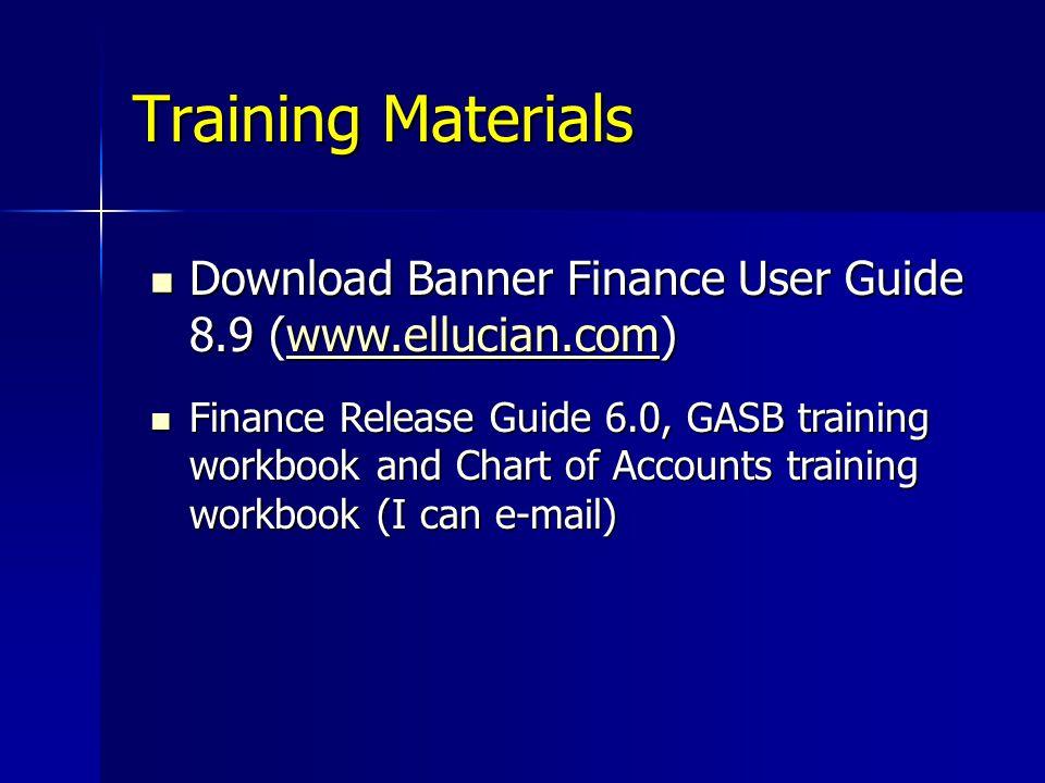 Training Materials Download Banner Finance User Guide 8.9 (www.ellucian.com)