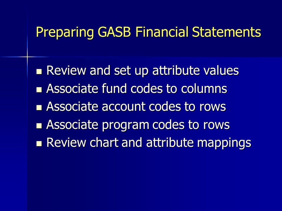 Preparing GASB Financial Statements
