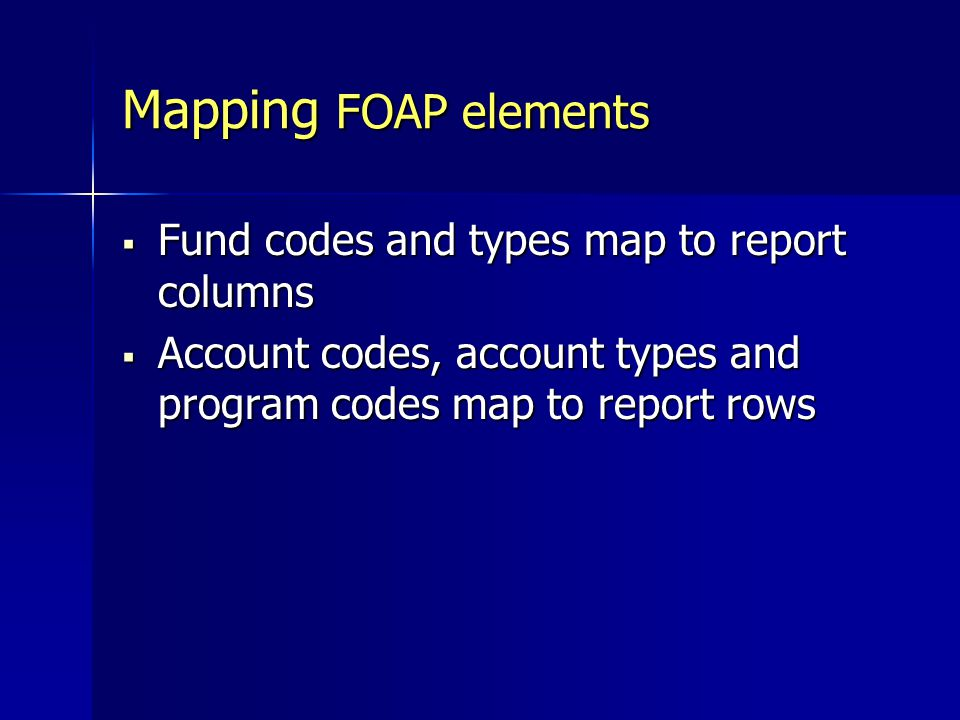 Mapping FOAP elements Fund codes and types map to report columns