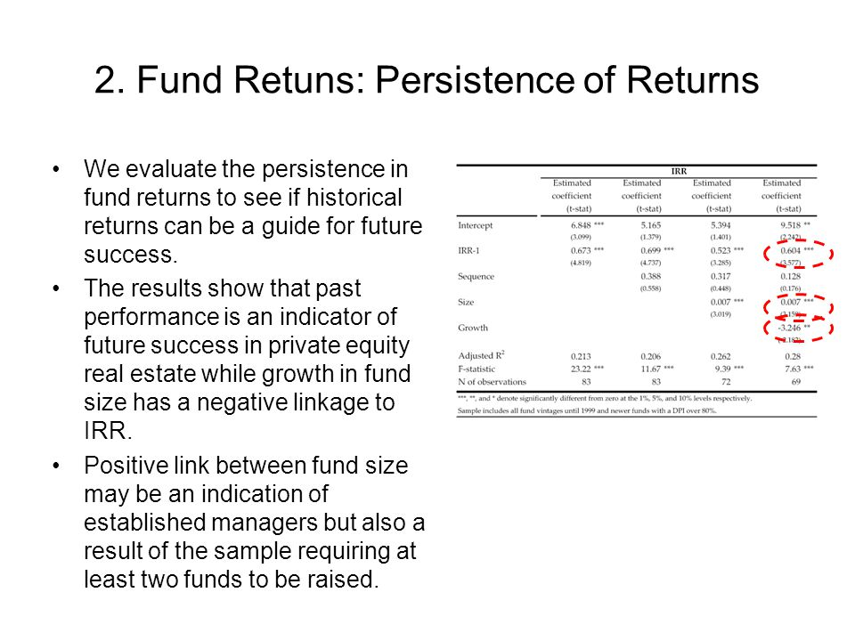 2. Fund Retuns: Persistence of Returns