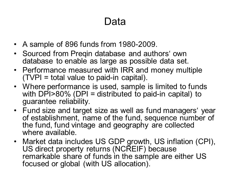 Data A sample of 896 funds from 1980-2009.