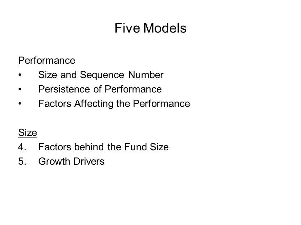 Five Models Performance Size and Sequence Number