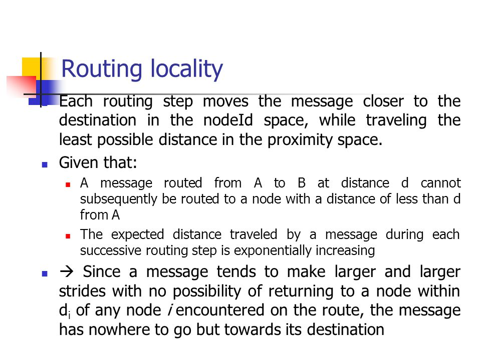 Routing locality