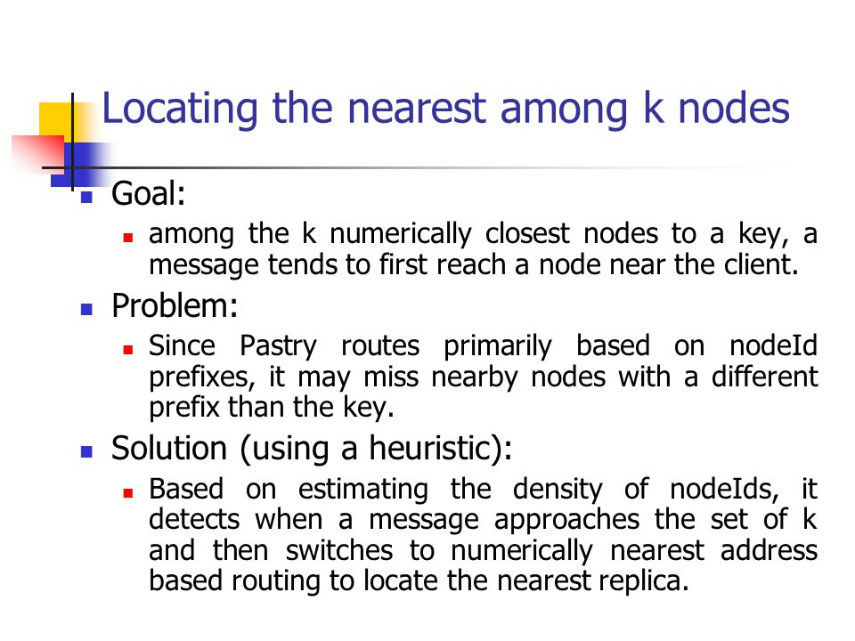 Locating the nearest among k nodes