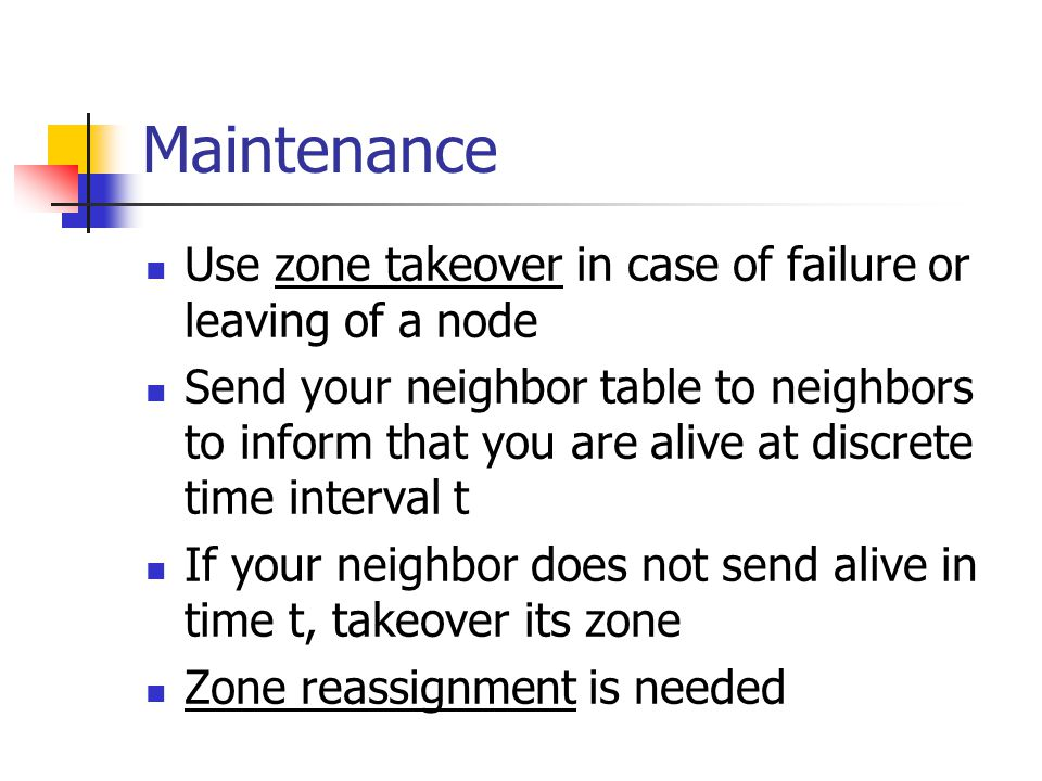 Maintenance Use zone takeover in case of failure or leaving of a node