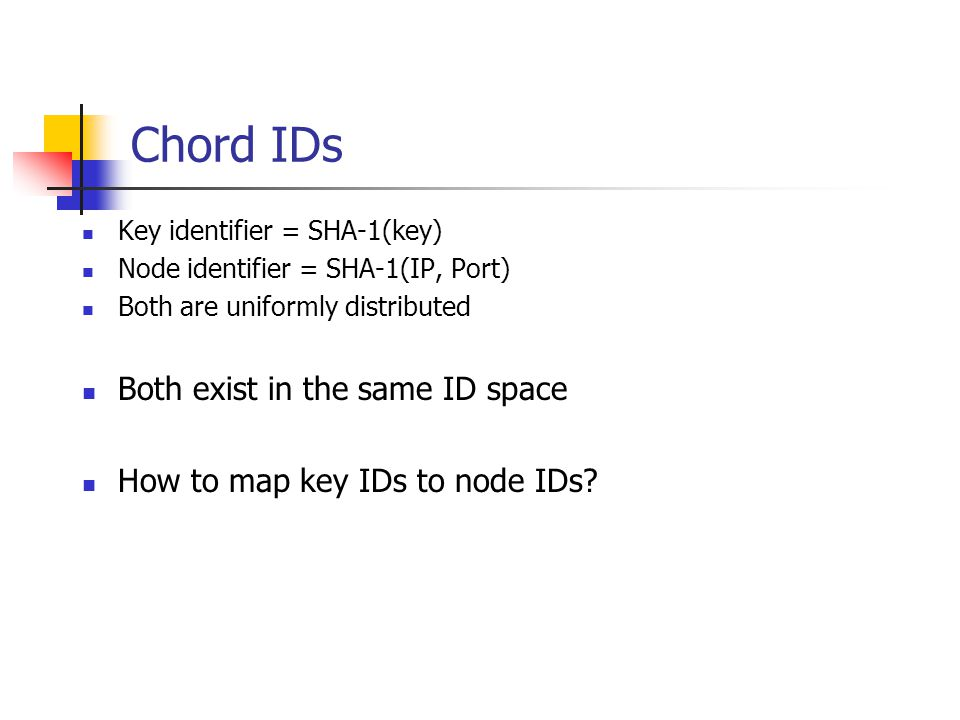 Chord IDs Both exist in the same ID space
