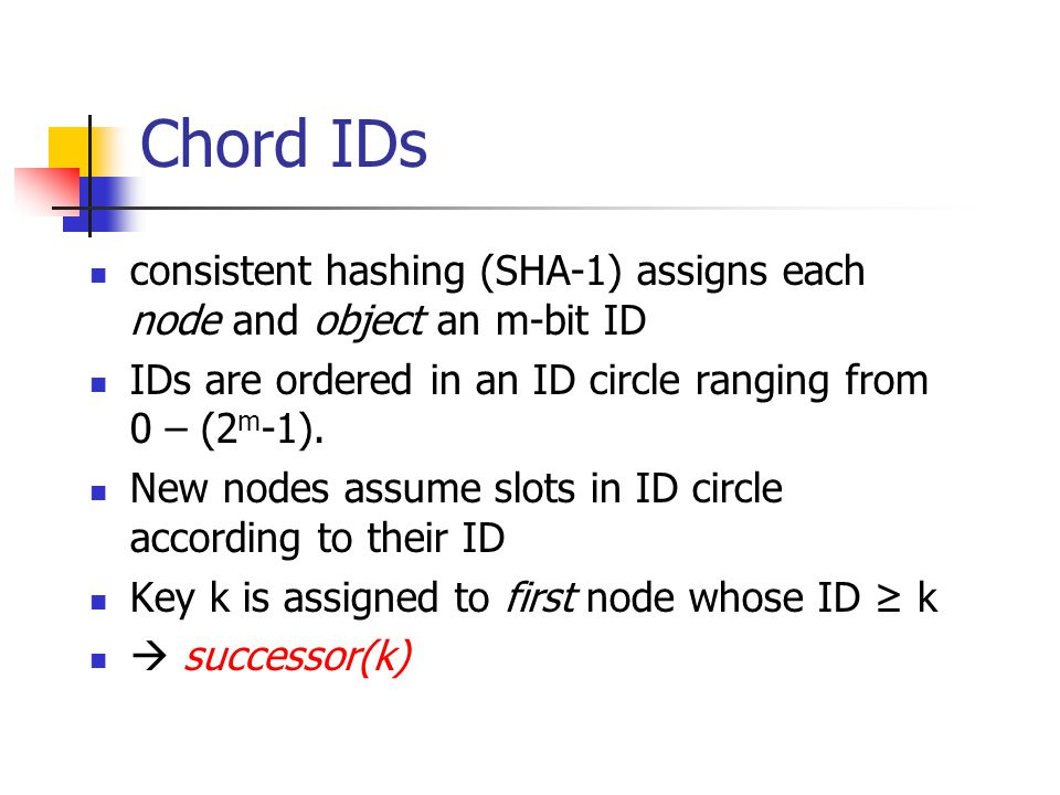Chord IDs consistent hashing (SHA-1) assigns each node and object an m-bit ID. IDs are ordered in an ID circle ranging from 0 – (2m-1).