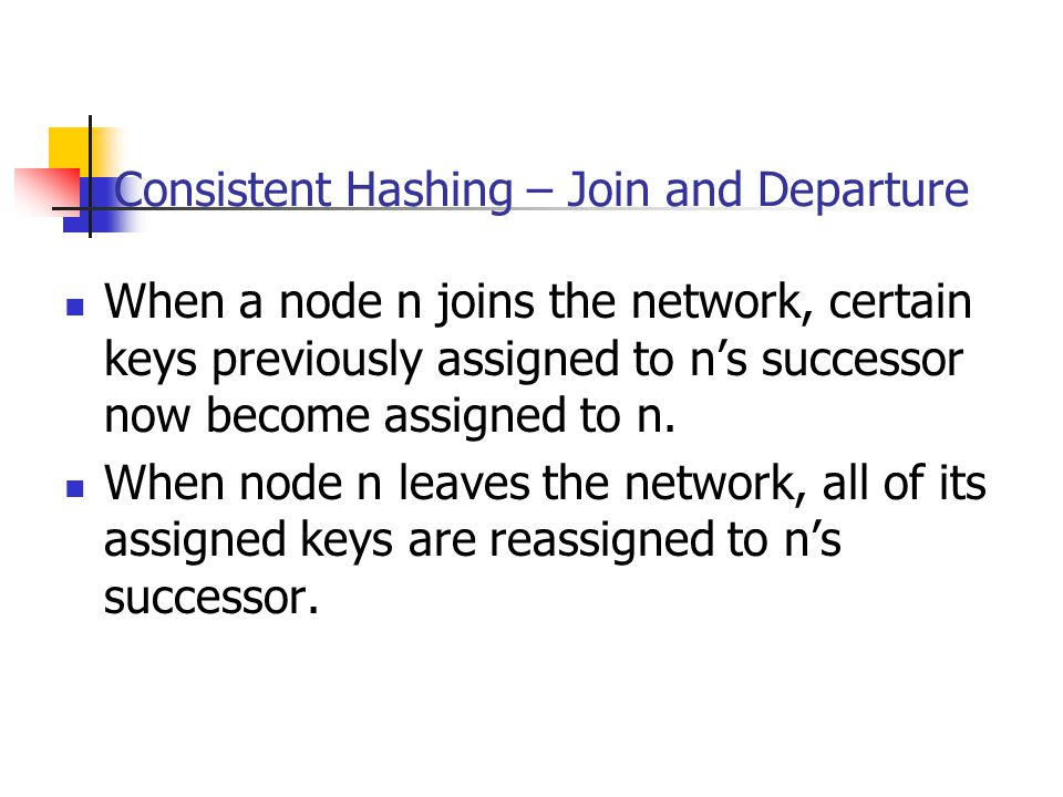 Consistent Hashing – Join and Departure