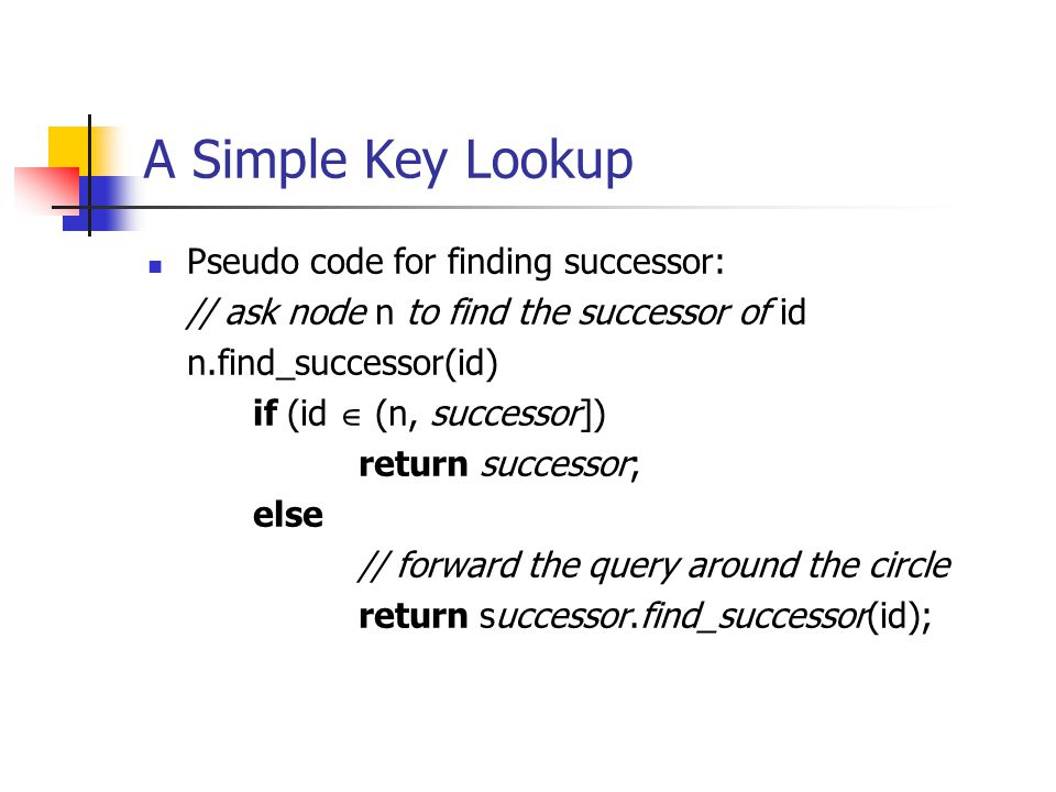 A Simple Key Lookup Pseudo code for finding successor: