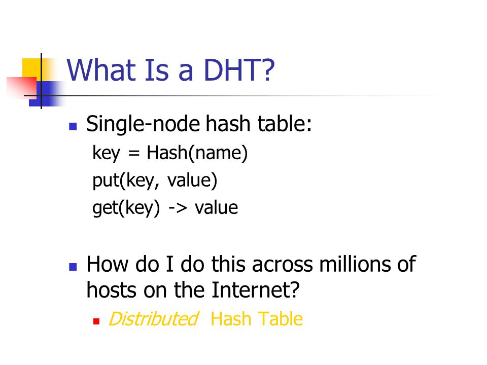 What Is a DHT Single-node hash table: