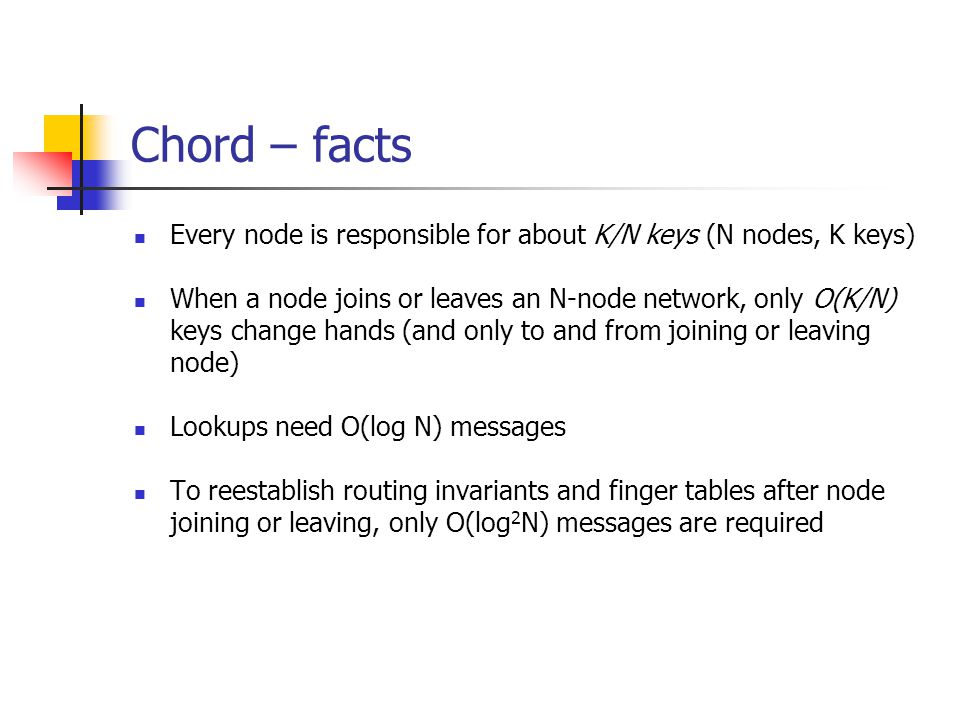Chord – facts Every node is responsible for about K/N keys (N nodes, K keys)