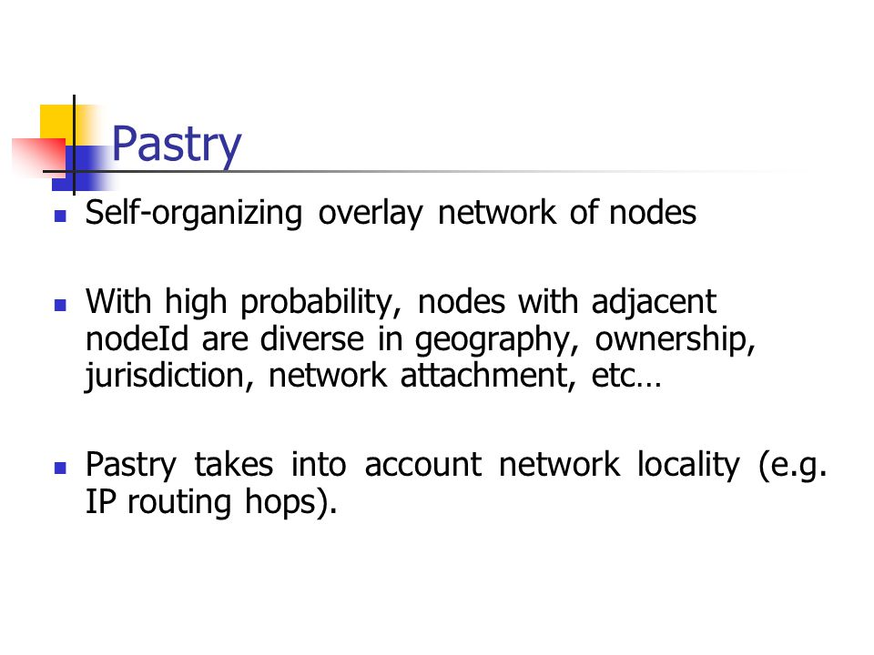 Pastry Self-organizing overlay network of nodes