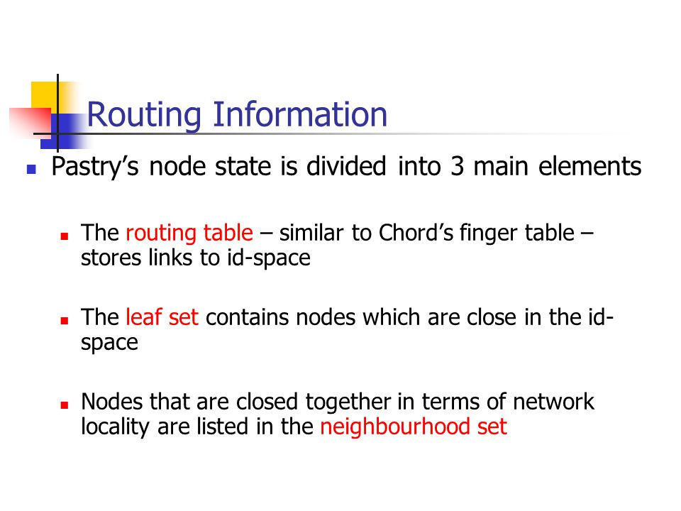 Routing Information Pastry's node state is divided into 3 main elements.
