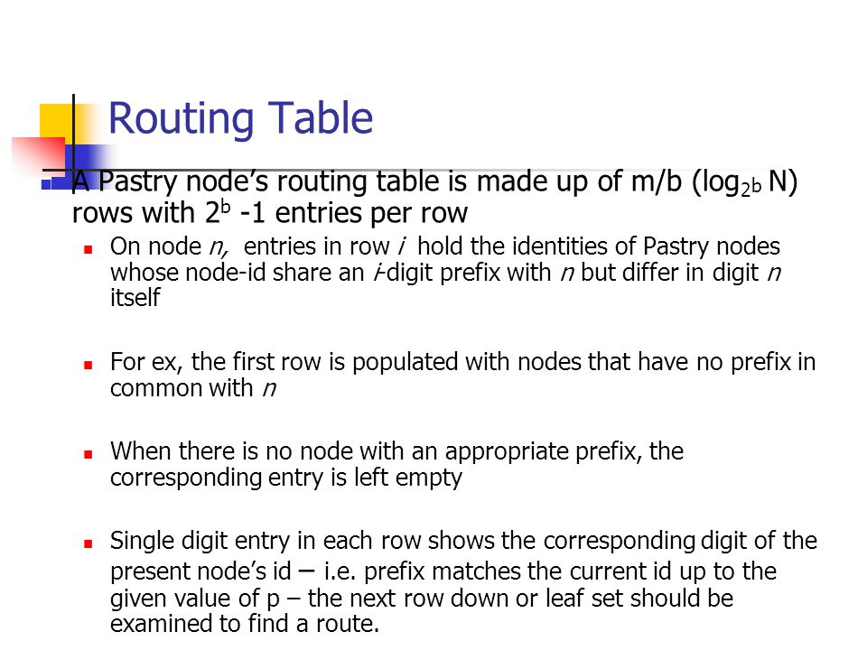 Routing Table A Pastry node's routing table is made up of m/b (log2b N) rows with 2b -1 entries per row.